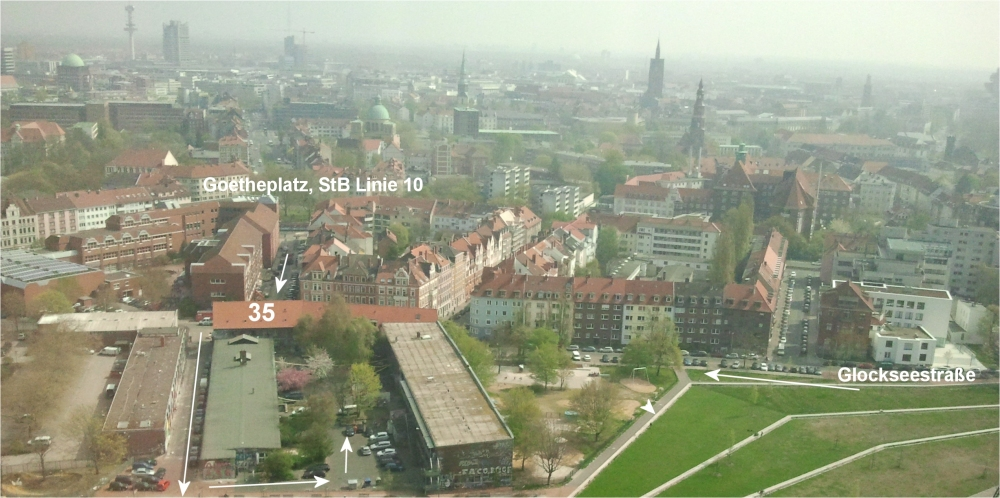 Anfahrt Glocksee Bauhaus e.V., UJZ Glocksee